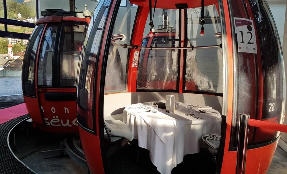 Dineren in skilift, Valgardena © Claudia Zanin