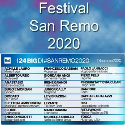 Deelnemers Festival San Remo 2020 bekend