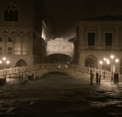 Record hoogwater in Venetie op 18 mei 2019