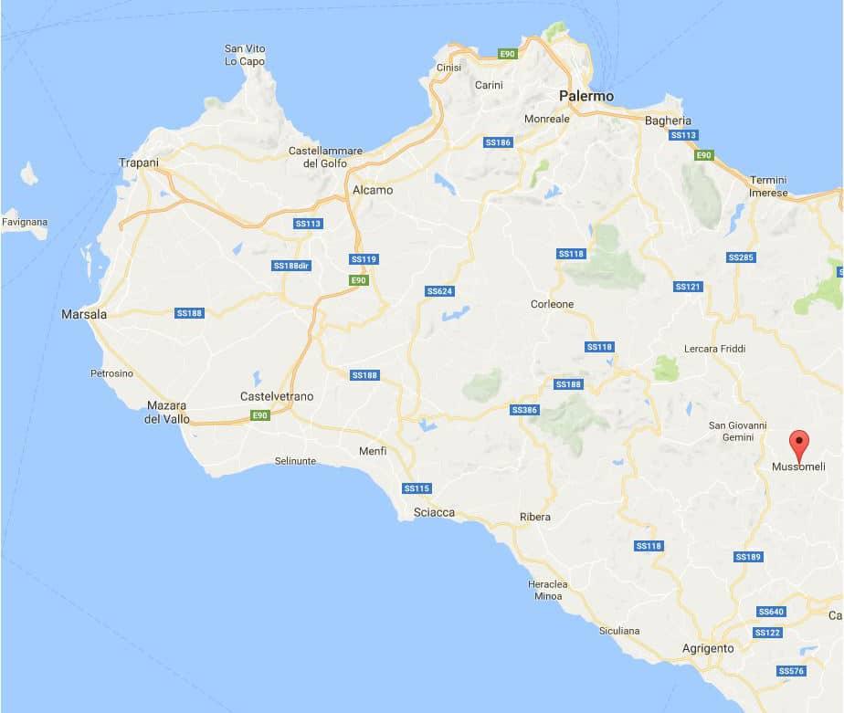 landkaart sicilie mussomeli
