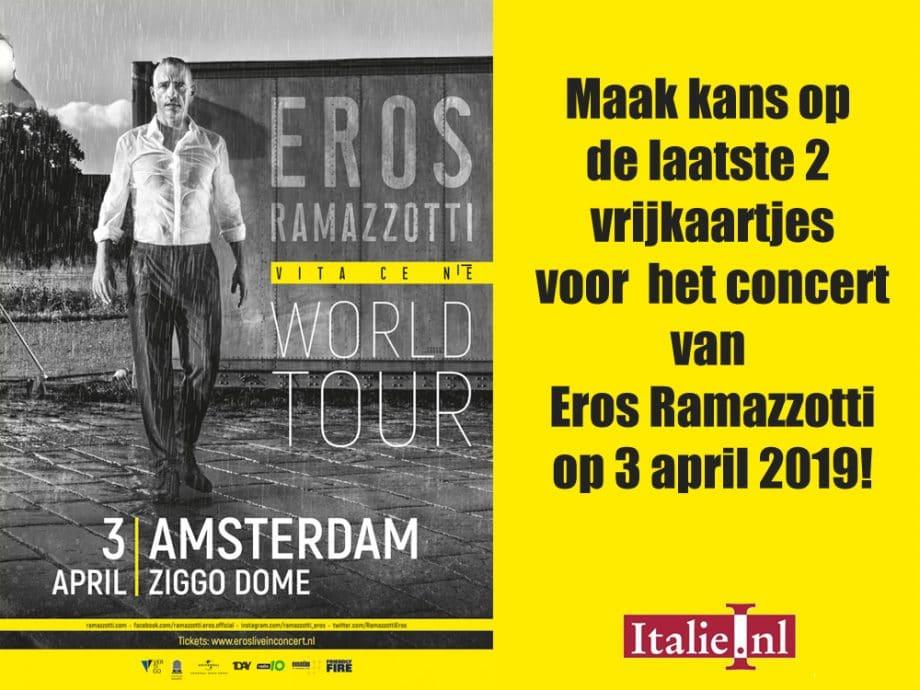maak kans op d laatste 2 vrijkaartjes voor het concert van Eros Ramazzotti in de Ziggo Dome