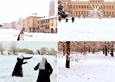 Sneeuwdump in Noord-Italië