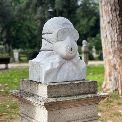 Coronabeeld Soldato Anticovid in Rome