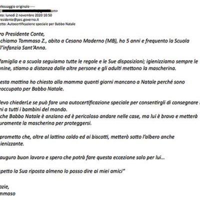 Kleuter schrijft minister-president Conte over de Kerstman in Corona-tijd
