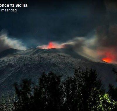 Vulkaan Etna uitgebarsten