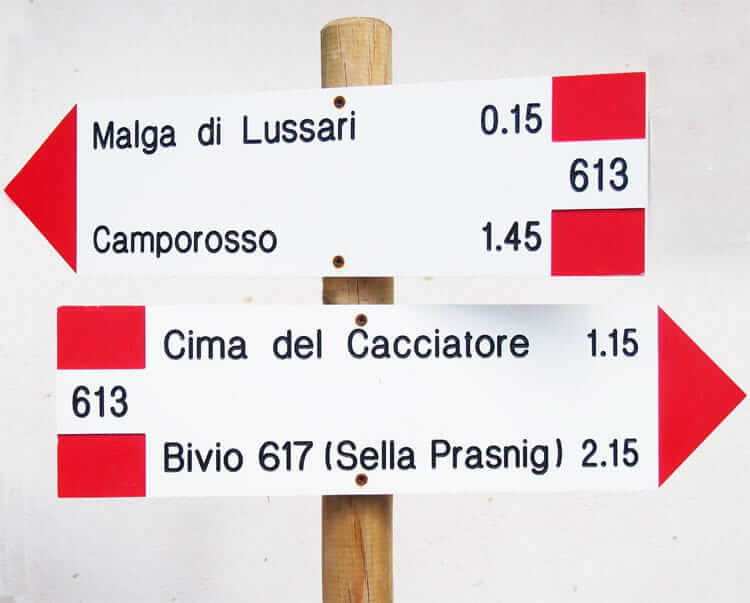 Wandelen in Italië Richtingaanwijzers voor wandelaars © Claudia Zanin